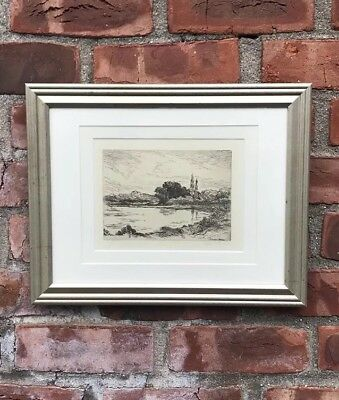 Original Edward Moran Pencil Signed Etching. Fishing Pond