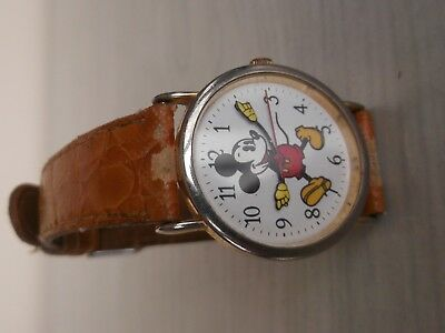 Vintage Collectable Mickey Mouse Watch Swiss Quartz Gold Plated Case