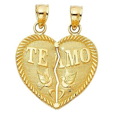 Yellow Gold 14K Real Solid TEAMO Couple Broken Heart Charm Pendant 1.9gm 20X20mm