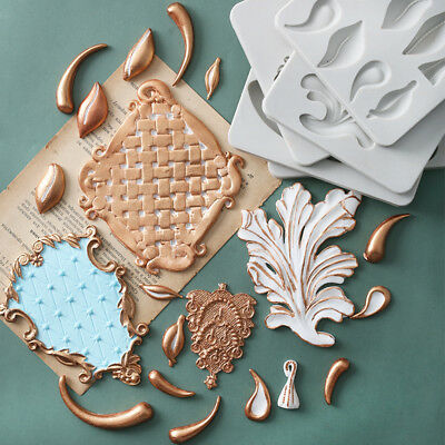 Relief Baroque Silicone Fondant Mould Vintage Cake Border Decor Sugar Paste Mold