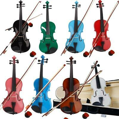 Multi Colors 4/4 Basswood Beginner Acoustic Violin With Case Rosin Bow Bridge