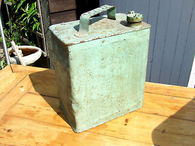 Old vintage antique metal shell mex petrol can ; collectable, prop,