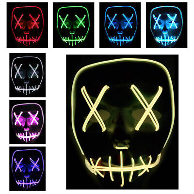 UK Light Up Mask Smiling Stitched El Wire Halloween 2018 Rave Cosplay Edm Purge