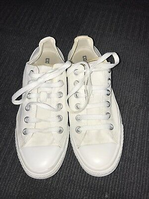 All White Converse All Star Trainers Size 6 Gold Double Tongue Limited Edition