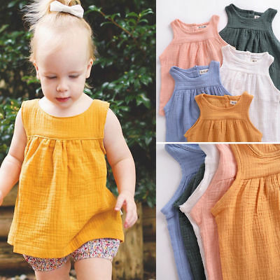 Baby Kid Girls Cotton Linen Vest Tops Summer Beach Sleeveless Mini Dress T-Shirt