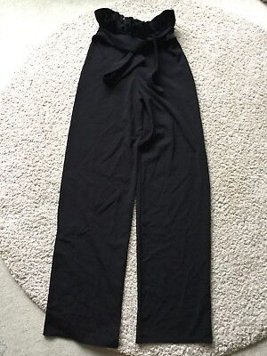 Prettylittlething paper bag black wide leg trousers size 6