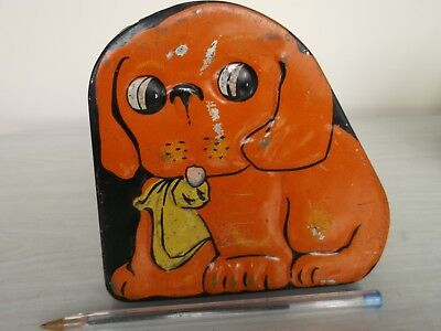 VERY OLD 1920'S  ORANGE  VINTAGE COLLECTABLE ''DOG'' TIN TOFFEE / LOLLY unsure