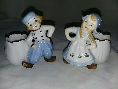 DUTCH BOY AND GIRL PORCELAIN FIGURINES with Tulip Pot