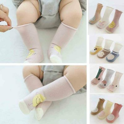 Pack 3 Pairs Toddler Kid Baby Knee High Long Socks Cotton Casual Stockings Gift