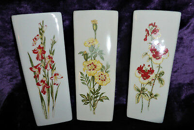 Vintage - Set of 3 Handpainted Wall Pockets With Floral Design @ 21cm tall