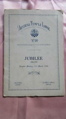 1886-1936 Jubilee Austral Temple Lodge No. 110 Regular Meeting Order of Ceremony