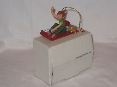 Disney Grolier Peter Pan on Sleigh Christmas Holiday Ornament with box