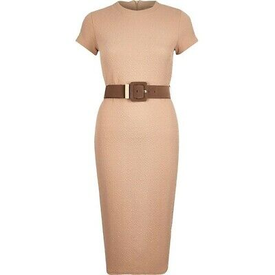 New River Island Dress Bodycon Midi Brown Beige Belted Womens Size Uk 8