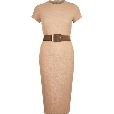 New River Island Womens Size Uk 8 Brown Beige Belted Bodycon Midi Dress