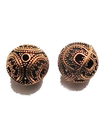 9 Pcs 10Mm Antique Copper Bead Solid Copper Metal   B 31