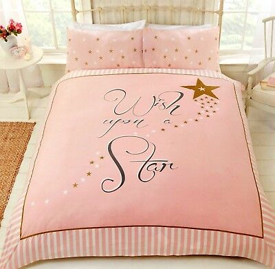 Wish Upon A Star Duvet Quilt Cover Reversible Pink & Gold Stripe Girls Bedding