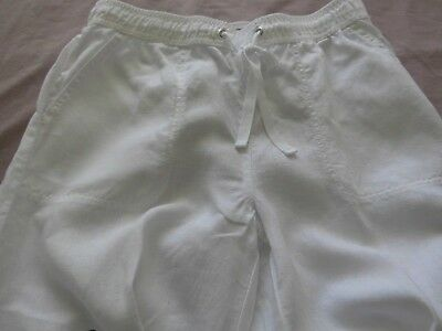 Ladies M & S Collection White Linen Trousers -  size 10 regular