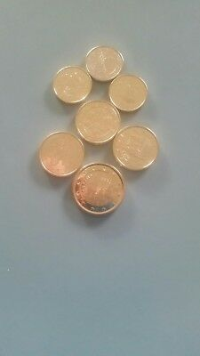 Euro Cent Collection 7 Coins finished in Gold