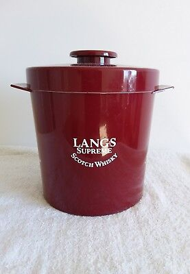Langs Scotch Whisky Ice Bucket Vintage 1970's Insulex Made In England Used