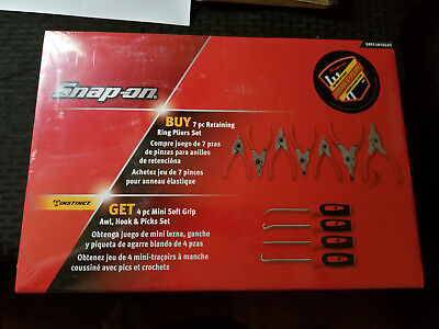 Snap-On 7 PC Retaining Snap Ring Pliers w/4 PC Mini Hook & Pick Set SRPC107SGAS