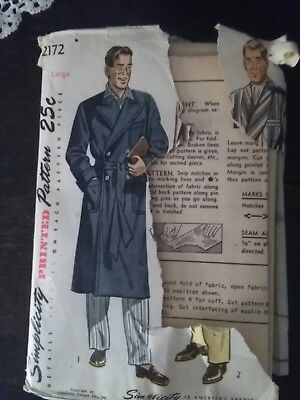 Vintage Simplicity Mens Overcoat Sewing Pattern