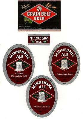 Minneapolis Brewing Co. Minn. USA - 14 x older beer bottle labels - see 3 scans