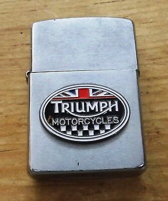 1989 Triumph Motorcycles Brushed Chrome Zippo Lighter Used