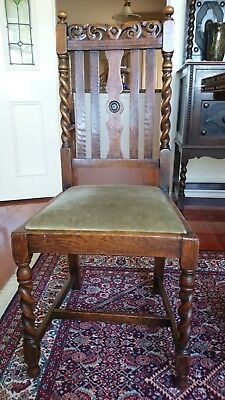 Set of 4 Antique English Oak Jacobean Dining Chairs with pop out seats