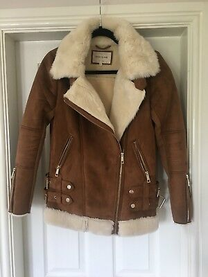 River Island Brown Suede Effect Cream Faux Fur Shearling Aviator Jacket Size 8