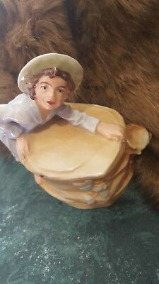 Antique Porcelain Tobacco Humidor c1900 Figural Young Boy Austria Two Piece