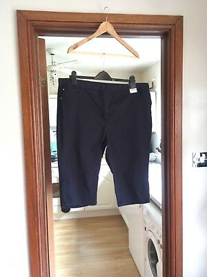 Bnwt Elastic Waist Knee Length Shorts Navy Size 20