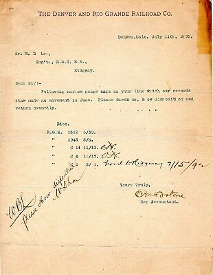 1892 D&RG-Rio Grande Southern-Letter-Query on Car Movement-W.D.Lee-O.M.Horton