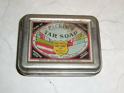 Packer's Tar Soap Tin Box Bar old vintage antique Mystic Conn Made USA America