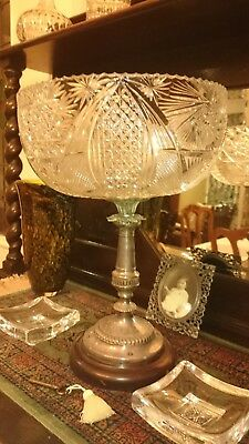 Antique Victorian table centre piece: Crystal, Mahogany and Silver plate