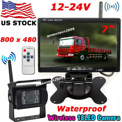 """7"""" Wireless LCD Monitor Vehicle Backup Rear View Camera System for RV Bus Truck"""