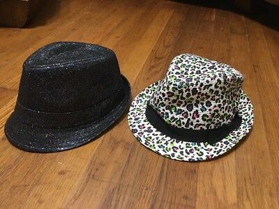 Girls Fedora Hat Cap Lot Sparkle Justice Charming Charlie Rainbow Leopard