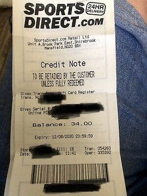 Sports Direct Credit Note £34 To The Kunt That Stole This Voucher, See You Soon!