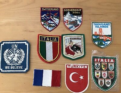 Lot of 9 Vintage Travel Souvenir Patch France Spain Switzerland Turkey Italy UN