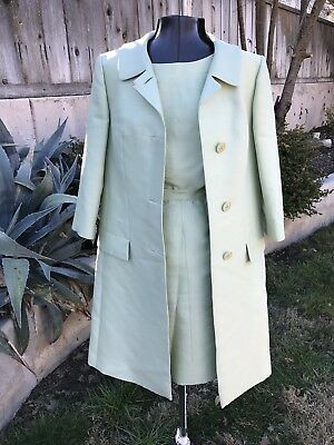 VINTAGE 1950s 3-PIECE POWER SUIT SAGE GREEN SKIRT SHELL JACKET XS/S PASTEL