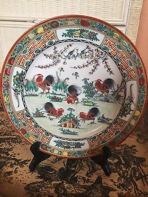 """Vintage """"ORIENTAL ACCENT"""" Japanese Chinese Decorative Gilt Plate w/Chickens"""