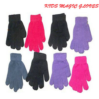 Kids Boys Girls Warm Magic Gloves Winter Protection Stretchy Knitted One SizeNew