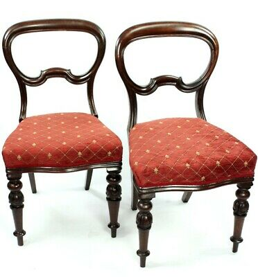 A Pair of Antique Walnut Balloon Back Chairs - FREE Shipping [PL4599]