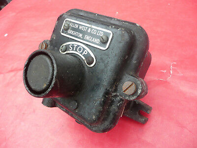 Vintage Industrial Switch STOP Cast Iron Body Allen West & Co BRIGHTON England