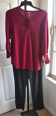SILVERWEAR Sweat Top Henley Pants SET Plus Size Gray Wine Stretchy NWT$99