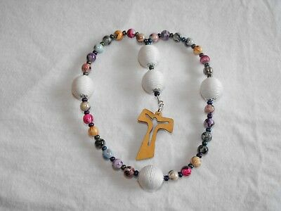 Anglican Prayer Beads; acrylic in multiple colors with a wooden cross.