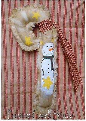 STAR SNOWMAN Candy Cane HP Ornie Folk Art Primitive Country Christmas