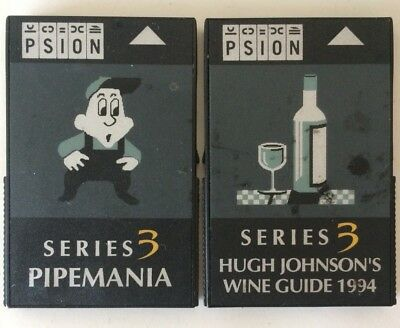2x Psion ROM for Series 3 etc Pipemania and Wine Guide 1994