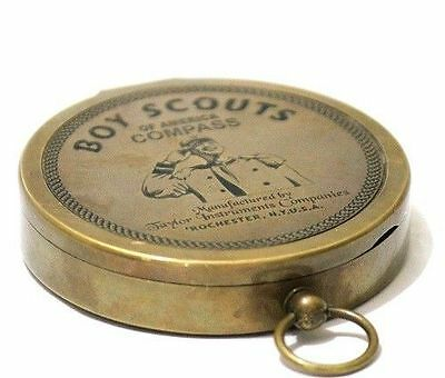 American Boy Scout Handmade Antique Brass Navigation Magnetic Compass Gift