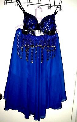 Belly Dancing Costume-skirt/bra-size small-India Boutique--royal blue