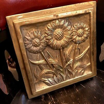 "Vintage Brass 11.75"" Square Architectural Sunflower Tile"